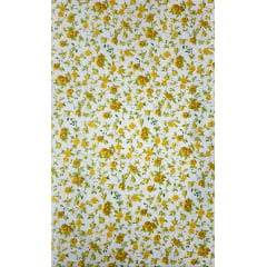 Tecido Tricoline Branco Floral Amarelo