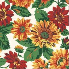 tecido tricoline branco flores coloridas