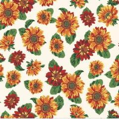 tecido tricoline branco florzinhas coloridas