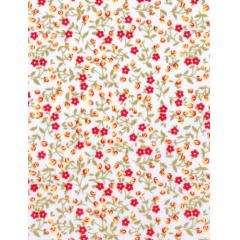 Tecido Tricoline Branco Florzinhas Vermelhas