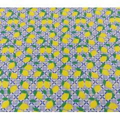 Tecido Tricoline  Branco Limão Siciliano ref:24-0001