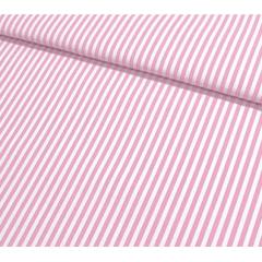 Tecido Tricoline Branco Listras  Rosa Bebê