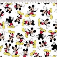 Tecido Tricoline Branco Mickey