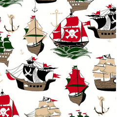 Tecido Tricoline Branco Navios Piratas