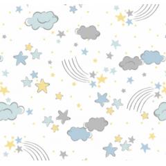Tecido Tricoline Branco Nuvem Azul