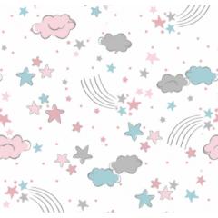 Tecido Tricoline Branco Nuvem Rosa