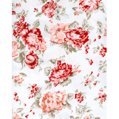 Tecido Tricoline Branco Rosas