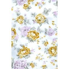 Tecido Tricoline Branco Rosas  Amarela e Lilás