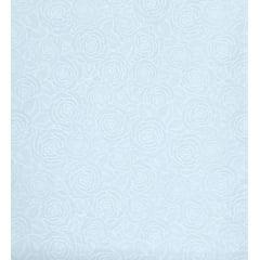 Tecido Tricoline azul Rosas Branca