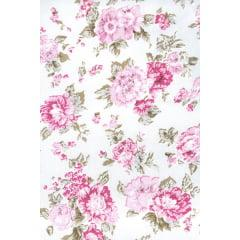 Tecido Tricoline Branco Rosas  Rosa