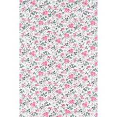 Tecido Tricoline Cassis  Branco Florzinhas  Rosa