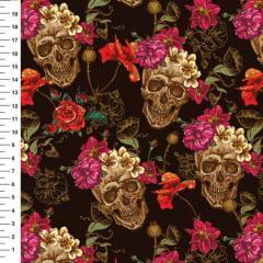 Tecido Tricoline Caveira Floral Digital