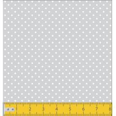 Tecido Tricoline Cinza Mini Poá Branco