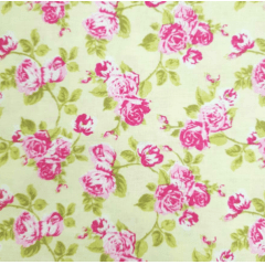 Tecido Tricoline  Creme Floral Rosas