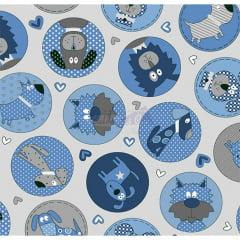 Tecido Tricoline Cut Dog Cinza com Azul