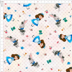 Tecido Tricoline Digital Alice no País das Maravilhas