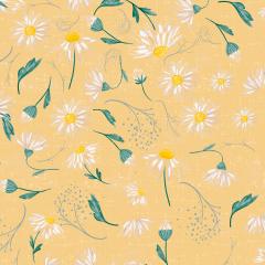 Tecido Tricoline Digital Amarelo Margaridas