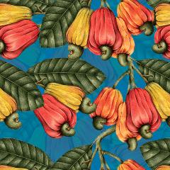Tecido Tricoline Digital Azul Caju Ref : 9004