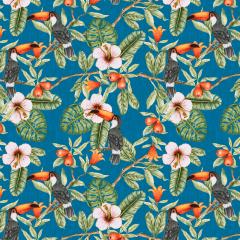 Tecido Tricoline Digital Azul Costela de Adão e Tucanos Ref 9007