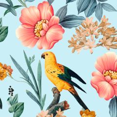 Tecido Tricoline Digital Azul Floral Aves Ref 9007