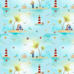 Tecido Tricoline Digital Azul Praia Ref 9003
