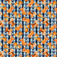 Tecido Tricoline Digital Azul Xadrez Dog Ref 9002