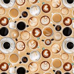 Tecido Tricoline Digital Bege Coffee