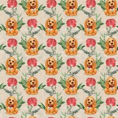 Tecido Tricoline Digital Bege Dog Flores Ref 9002