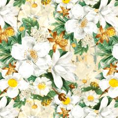 Tecido Tricoline Digital  Bege Floral