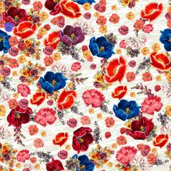Tecido Tricoline Digital Bege Flores Coloridas
