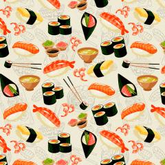 Tecido Tricoline Digital  Bege  Sushi