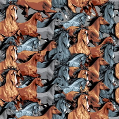Tecido Tricoline Digital Cavalos Ref :9013
