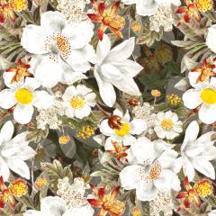 Tecido Tricoline Digital  Cinza  Floral