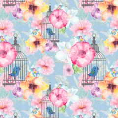 Tecido Tricoline Digital Floral Passarinho Gaiola Ref 9005