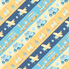 Tecido Tricoline Digital Infantil Amarelo Com Azul