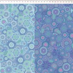 Tecido Tricoline Digital Mandala Degrade Azul