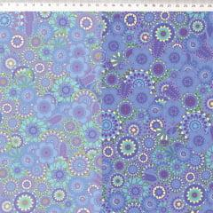 Tecido Tricoline Digital Mandala Degrade Lilas