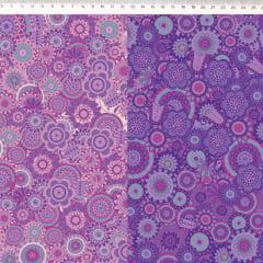 Tecido Tricoline Digital Mandala Degrade Violeta