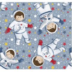 Tecido Tricoline Digital Mini Astronautas