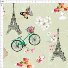 Tecido Tricoline Digital Paris