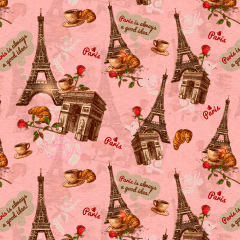 Tecido Tricoline Digital Paris Rosa