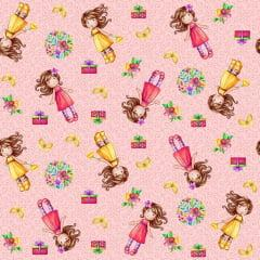 Tecido Tricoline Digital Rosa Chá Bonecas