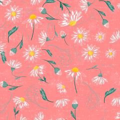 Tecido Tricoline Digital Rosa Margaridas