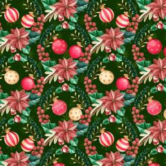 Tecido Tricoline Digital Verde Girlanda  De Natal