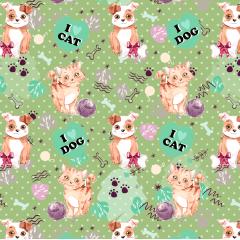 Tecido Tricoline Digital Verde I love Cat e Dog