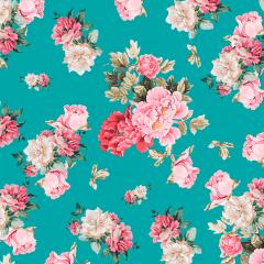 Tecido Tricoline Digital Verde Tiffany Floral