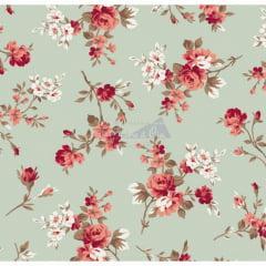 Tecido Tricoline Eliza Verde Floral