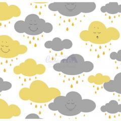 Tecido Tricoline Estampado Cloud Amarelo com Cinza