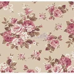 Tecido Tricoline Estampado Floral Amore Bege