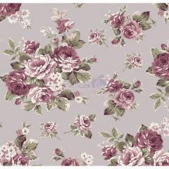 Tecido Tricoline Estampado Floral Amore cinza
